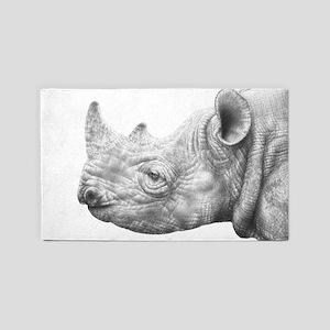 Black Rhino Area Rug