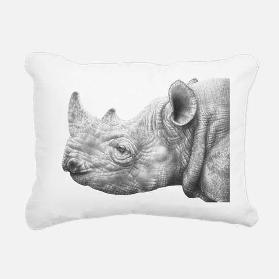 Black Rhino Rectangular Canvas Pillow