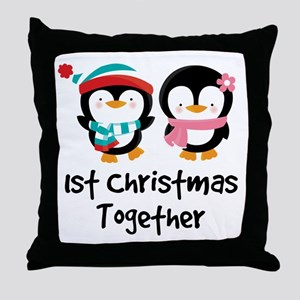 1st Christmas Together Penguin Throw Pillow