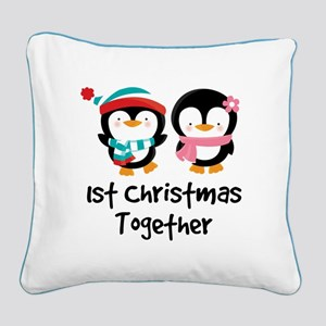 1st Christmas Together Penguin Square Canvas Pillo