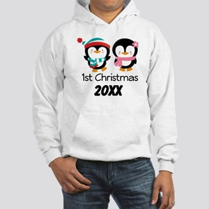 1st Christmas Personalized Penguins Hooded Sweatsh