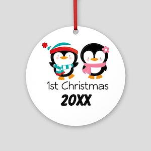 1st Christmas Personalized Penguins Ornament Roun