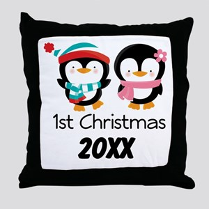 1st Christmas Personalized Penguins Throw Pillow