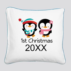 1st Christmas Personalized Penguins Square Canvas