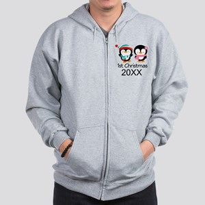 1st Christmas Personalized Penguins Zip Hoodie