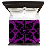 Purple and Black Goth Heart Pattern King Duvet