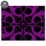 Purple and Black Goth Heart Pattern Puzzle