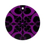 Purple and Black Goth Heart Pattern Ornament (Roun