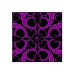Purple and Black Goth Heart Pattern Square Sticker