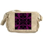 Purple and Black Goth Heart Pattern Messenger Bag