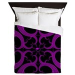 Purple and Black Goth Heart Pattern Queen Duvet
