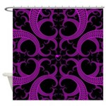 Purple and Black Goth Heart Pattern Shower Curtain