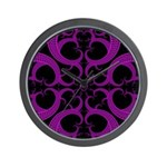 Purple and Black Goth Heart Pattern Wall Clock