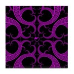 Purple and Black Goth Heart Pattern Tile Coaster
