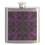 Purple and Black Goth Heart Pattern Flask