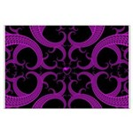 Purple and Black Goth Heart Pattern Large Poster