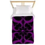 Purple and Black Goth Heart Pattern Twin Duvet