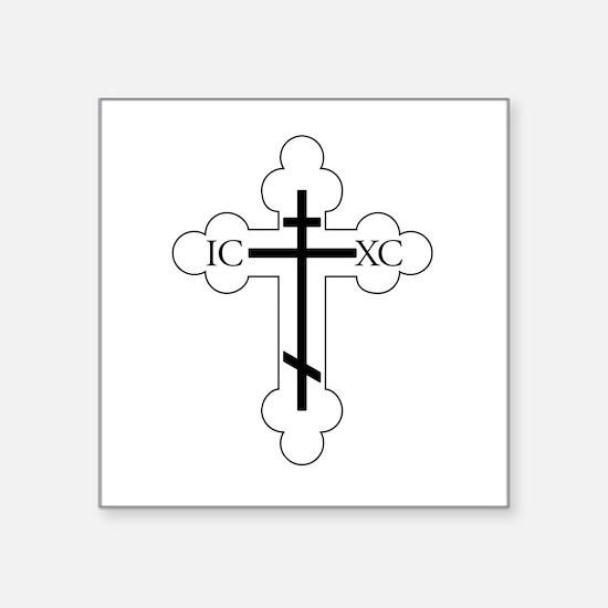 "Orthodox Cross Square Sticker 3"" x 3"""