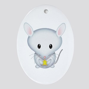 Little White Mouse Ornament (Oval)
