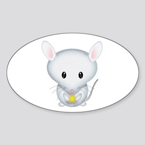 Little White Mouse Sticker (Oval)