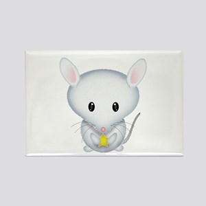 Little White Mouse Rectangle Magnet