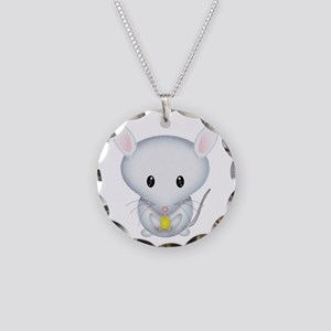 Little White Mouse Necklace Circle Charm