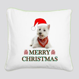 Westie Christmas W/Candy Cane Square Canvas Pillow