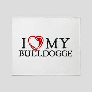 I Heart My Bulldogge Throw Blanket