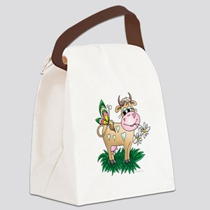 Cow & Butterfly Canvas Lunch Bag