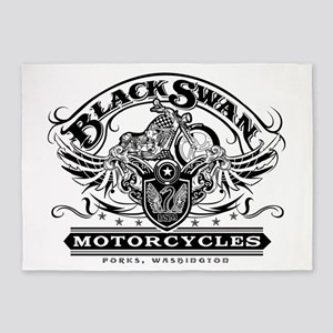 Black Swan Motorcycles 5'x7'Area Rug