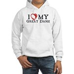 I Heart My Great Dane Hooded Sweatshirt