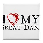 I Heart My Great Dane Tile Coaster