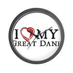 I Heart My Great Dane Wall Clock