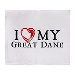 I Heart My Great Dane Throw Blanket