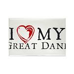 I Heart My Great Dane Rectangle Magnet