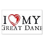 I Heart My Great Dane Sticker (Rectangle)