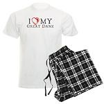 I Heart My Great Dane Men's Light Pajamas