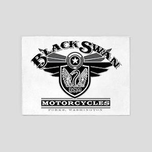 Black Swan Motorcycles 5'x7'Area Rug