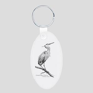Great Blue Heron Aluminum Oval Keychain