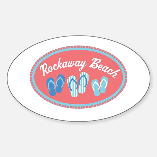 Rockaway Beach Sandal Badge Sticker (Oval)