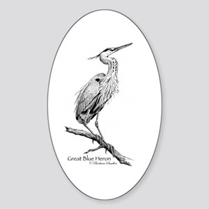 Great Blue Heron Sticker (Oval)