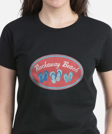 Rockaway Beach Sandal Badge Women's Dark T-Shirt
