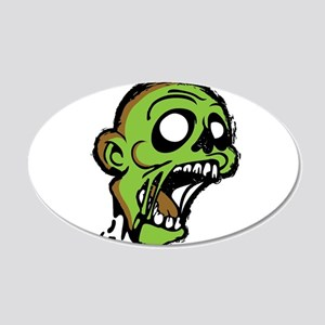 Zombie Head 20x12 Oval Wall Decal