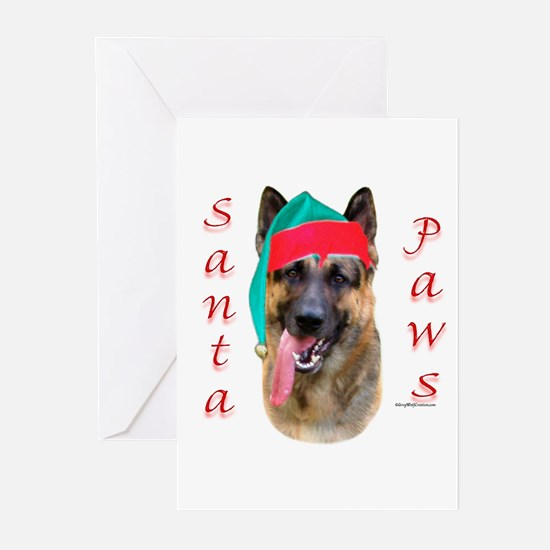 Santa Paws German Shepherd Greeting Cards (Package