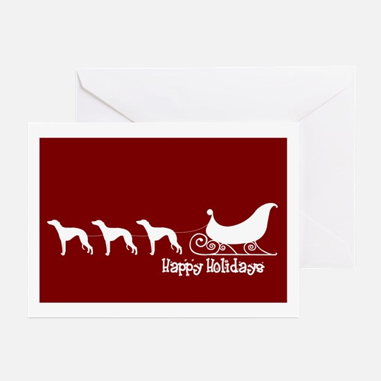"""Whippet """"Sleigh"""" Greeting Cards (Pk of 10)"""