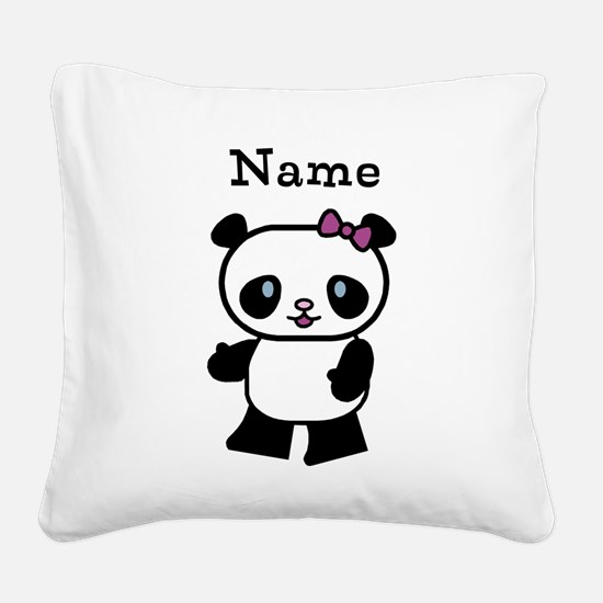 Personalize Panda Girl Square Canvas Pillow