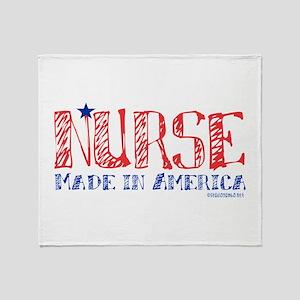 Nurse made in America Throw Blanket