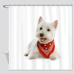 Westie With Red Bandana Shower Curtain