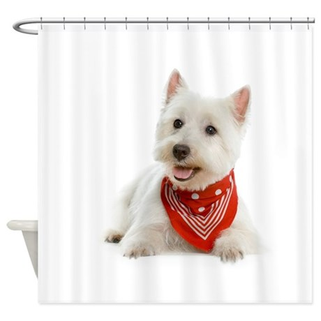 Westie With Red Bandana Shower Curtain By Thepetpatch