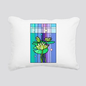 Stained Glass Lily Pads Rectangular Canvas Pillow